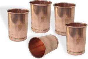 Dakshcraft Copper Glass Drinkware Asian Kitchen Accessory,Set of 5 Glasses Glass Set