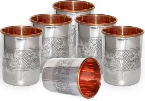 Dakshcraft Dakshcraft Stainless Steel Small Tumblers Inside Copper Glasses From India, Set of 6 Glass Set