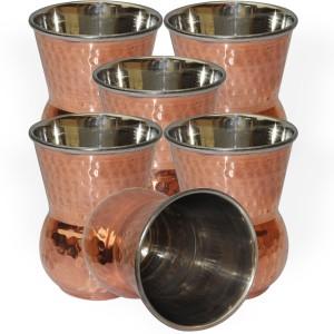 Dakshcraft Handmade Copper Tumbler Drinkware Accessories, Set of 6 Glass Set