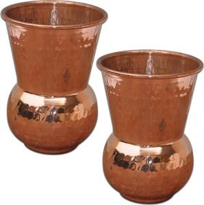 Prisha India Craft Tumbler Set of 2, Muglai Matka Hammered Style Tumbler Glass Set