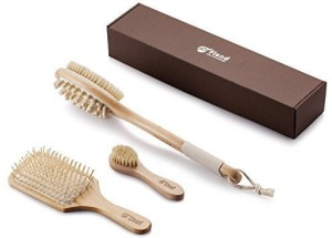 Flend 100% Natural Boar Bristles Flend Bath and Shower Brush with Dual Head (Skin Brushing + Cellulite Massage)+Facial Complexion Brush+Detangling Hair Brush, Complete Wooden Brush Set in Gift Box