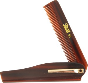 Roots Brown Folding Pocket Comb with Clip - Pack of 2