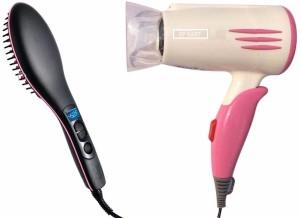 3p kart Ceramic Brush Hair Straightener and Professional Hair Dryer SIm+1400w Hair Straightener