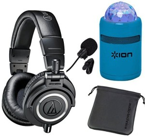 Audio Technica Ath-M50X Professional Studio Monitor Headphones + Ion Party Starter Bluetooth Light Show Speaker And In-Line Mic Headphone