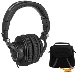 Audio Technica Ath-M50 Professional Studio Monitor Headphones With Coiled Cable Deluxe Bundle Headphones