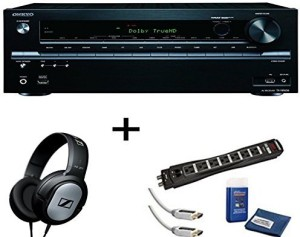 Electronics Expo Onkyo Tx-Nr636 7 2-Channel A/V Receiver, Sennheiser Hd201  Headphones Plus Monster Surge Protector Hdmi Bundle HeadphonesWhite