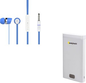 Candytech 82390 USB Power Supply 12000 mAh Power Bank and Wired Headphones