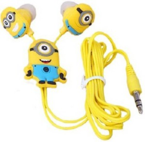 Saturn Retail Despicable Stuart | Minions - Earphones With 3.5 Mm Universal Jack Stereo Wired Earphone Wired Headphones (Yellow, In the Ear) Wired Headset With Mic