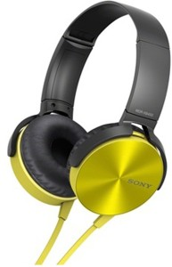 Sony MDR-XB450_Yellow Wired Headphones