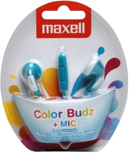 Maxell Maxell Color Buds Earphone with Mic For iPhone,iPod,Smartphone,MP3(Blue) Wired bluetooth Headphones