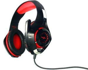 Redgear Hell Storm professional Gaming Headphones with LED Effect, In-line Volume controller and Retractable microphone. Wired Gaming Headset With Mic