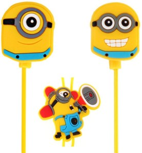 A Connect Z Minions Cartoon Design AcZ Great sound Base Stud ZR-162 Wired Headset With Mic