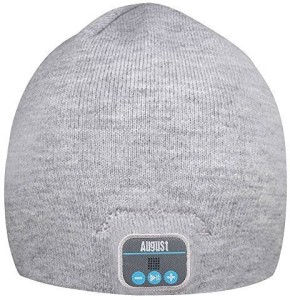 August August EPA20 - Bluetooth Beanie - Winter Beanie Hat with Bluetooth Stereo Headphones, Microphone, Hands Free System and Rechargeable battery - Compatible with Mobile Phones, iPhone, iPad, Laptops, Tablets, Smartphones (Gray) Wireless Bluetooth Headset With Mic