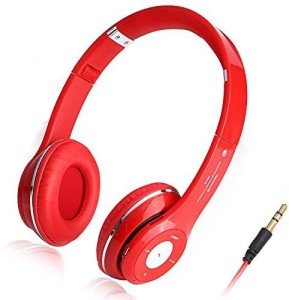 Chrysansmile Red Foldable Stereo Bluetooth V3.0 Headphone Universal Flexible Wireless Over-ear Headset with Mic Answer Calling Handfree Music Stream Headset with Mic
