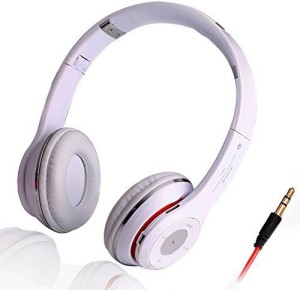 Chrysansmile White Foldable Stereo Bluetooth V3.0 Headphone Universal Flexible Wireless Over-ear Headset with Mic Answer Calling Handfree Music Stream Headset with Mic