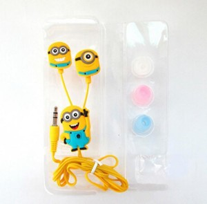 A Connect Z Cartoon Design Minions Headst Stud AR-307 Wired Headset With Mic