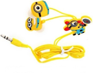 Madheshiya Minions With Mic Edition Earphones Stereo Wired Headphones (Yellow, In the Ear Wired) Wired Headset With Mic