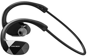 COOCHEER Coocheer Wireless Bluetooth 4.1 Stereo Sports Headphones for Apple Iphone 6 Ipad Ipod Samsung Galaxy S6 S5 and Other Mobile Phones (Black) Headset with Mic