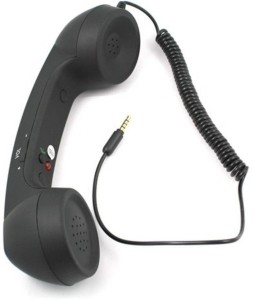 CheckSums 11856 COCO PHONE radiation free phone 3.5mm Wired Retro Handset Receiver- Black Wired Headset With Mic