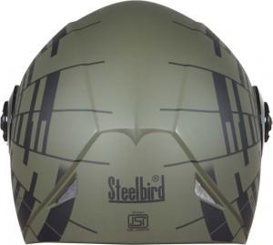 12efdaca Steelbird SB-41 Oscar matrix Motorbike HelmetMat Battle Green with Black