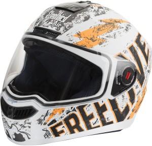 b941d6e8 Steelbird SBA Free Live Matte White Orange Motorbike Helmet ...