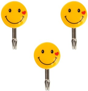 HealthMax Plastic Self-Adhesive Smiley Face with Capacity of 1 Kg Load 1 - Pronged Hook