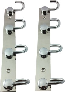 DOCOSS Set Of 2-Button Bathroom 4 Pin Wall Cloth Hanger 4 - Pronged Hook Rail