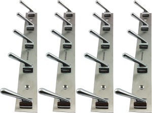 DOCOSS Pack of 4-DELUXE 5 Pin Bathroom Cloth Hanger Wall Hooks For Hanging keys,Clothes,towel 5 - Pronged Hook Rail