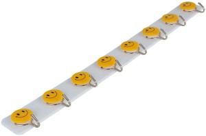 HOKIPO Self-Adhesive Plastic Wall Hanging Smiley 8 - Pronged Hook Rail