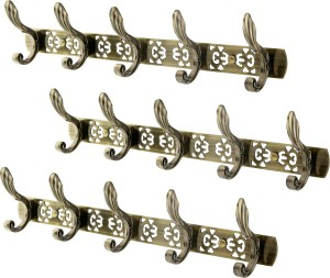 Dolphy Set Of 3 Towel Clothes Wall Hanger 5 - Pronged Hook Rail