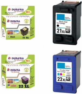 Dubaria 21 XL Black & 22 XL TriColor Ink Cartridge Compatible For HP 21 XL & 22 XL Ink Cartridges For Use In HP DeskJet 1402 / 1410 / 3920 / 3940 / D1360 / D1460 / D1550 / D1560 / D2360 / D2460 / F370 / F380 / F2120 / F2179 / F2180 / F2235 / F2275 / F2276 / F2280 / F4185, OfficeJet 4355 / 5610 / J3606 / J3608 / J5508, PSC 1400 - Combo Pack - High Yield Cartridges Multi Color Ink