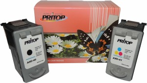 Pritop 40-41XL One Black & One Color Inkjet for Canon IP1300/1600/1700/1880/1980/2580/2680/6210/6220/MP145/150/198/228/476/MX308/318/LX201/210P Multi Color Ink