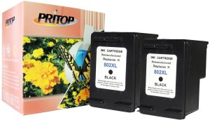 Pritop Pritop 802XL Black inkjet cartridge combo pack of 2 for HP Deskjet 1000 (J110a) 1050 2000 (J210a) 2050 1050A 2050A 3000 3050 1010, 1510 Office jet 2620 4630. … Single Color Ink