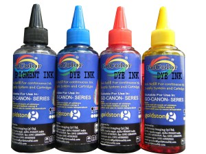 Gocolor Canon Premium High Quality Refill Ink Black Pigment & C/M/Y DYE INK Multi Color Ink