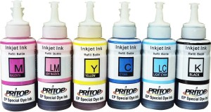 Pritop Refill Ink 70ml*6 bottles(BK/C/M/Y/LC/LM) for Epson L/ R/ XP Printer series with syringe and needle Multi Color Ink
