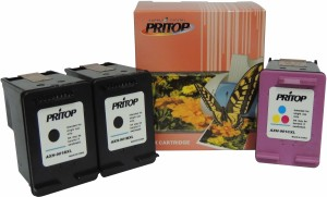 PRITOP 901XL Two Black & One inkjet cartridge for HP Officejet J4640, 4500, 4500 Desktop, J4580, J4660 Multi Color Ink
