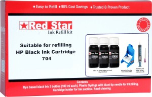 Red Star ink refill kit for HP 704 black cartridge Single Color Ink