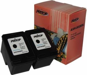 Pritop 802 XL Two Black Ink cartridge for CH563Z for HP Deskjet 1000 (J110a) 1050 2000 (J210a) 2050 1050A 2050A 3000 3050 1010, 1510 Office jet 2620 4630 printer Single Color Ink