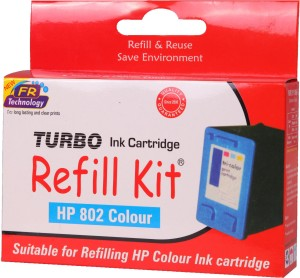Turbo Refill Kit for HP 802 Color Cartridge Multi Color Ink