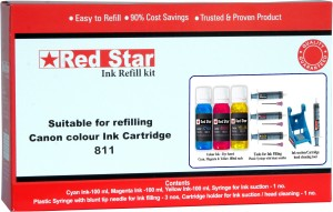 Red Star ink refill kit for Canon CL 811 cartridge Multi Color Ink