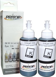 Pritop Universal Black Refill Ink 70 ml*2 bottles for all Canon/ HP ink cartridge with needle and syringe Single Color Ink