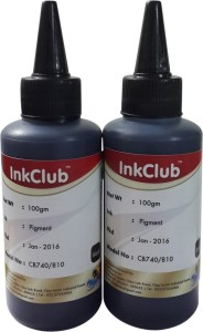 Inkclub Compatible Canon Black ink for Canon 810 & Canon 740 cartridges(set of 2 100ml bottles) Single Color Ink
