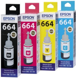 Epson Original Refill Ink Set (T6641 T6642 T6643 T6644) For L100 L110 L120 L200 L210 L300 L350 L355 L550 L555 Multi Color Ink