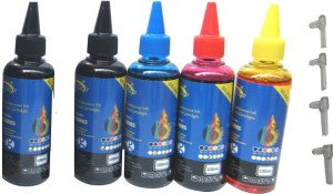 Gocolor Epson Premium Quality Inkjet Compatible Ink 100 ML X 4 Colour & 1 Black Extra & Easy Refilling Cube Multi Color Ink