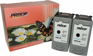 PRITOP 40XL pack of Two Black Ink Cartridge For Canon iP 1300/1600/1700/1880/1980/2580/2680/6210/6220 MP 145/150/198/228/476 MX 308/318/JX 201/210P Single Color Ink