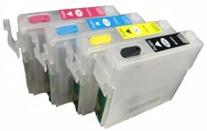 Dubaria Empty Refillable Cartridge For Epson ME20 / ME320 / ME620 Printers Compatible With Epson T1431 / 32 / 33 / 34 Multi Color Ink