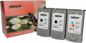 PRITOP 40-41 XL [Two Black & One Color] Ink Cartridge For Canon iP 1300/1600/1700/1880/1980/2580/2680/6210/6220 MP 145/150/198/228/476 MX 308/318/JX 201/210P Multi Color Ink