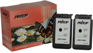 Pritop 745 Two Black Inkjet Cartridge for Canon MG 2470/2570/2970 iP 2870/2872 MX 497 Single Color Ink