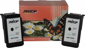 Pritop Pritop745/PG-745 Two Black Inkjet Cartridge for Canon MG 2470/2570/2970 iP 2870/2872 MX 497 Single Color Ink