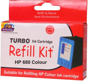 Turbo Ink Refill Kit for HP 680 color cartridge Multi Color Ink